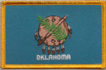 Oklahoma Embroidered Flag Patch, style 08.